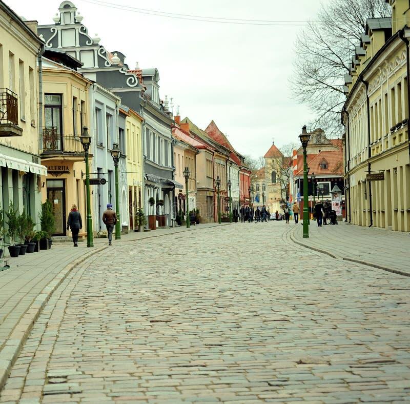 Straten van Kaunas-stadscentrum, Litouwen stock fotografie