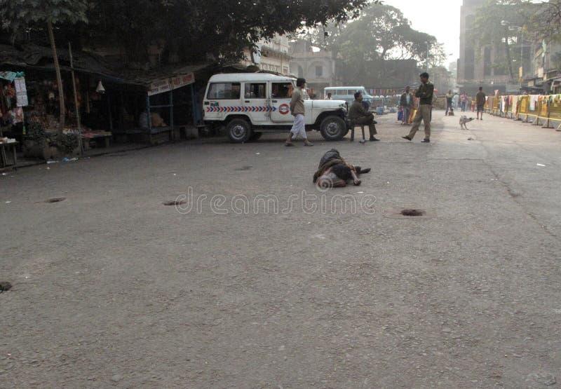 Straten van Kolkata bedelaars stock afbeelding