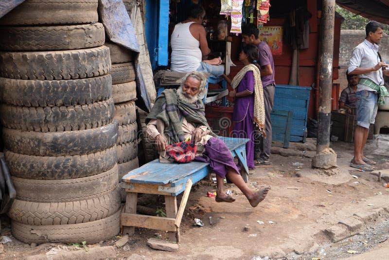 Straten van Kolkata bedelaars royalty-vrije stock foto