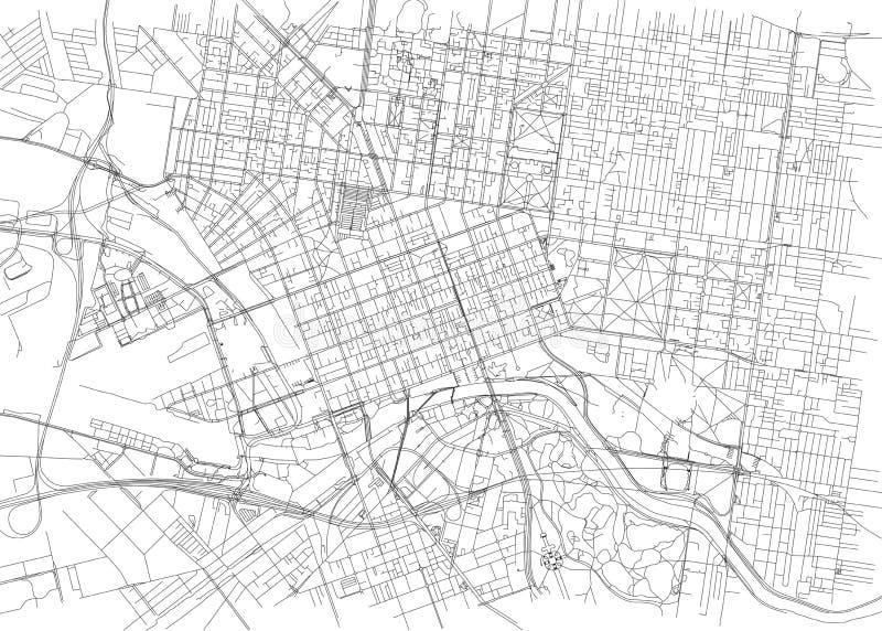 Straten van Melbourne, stadskaart, Australië vector illustratie