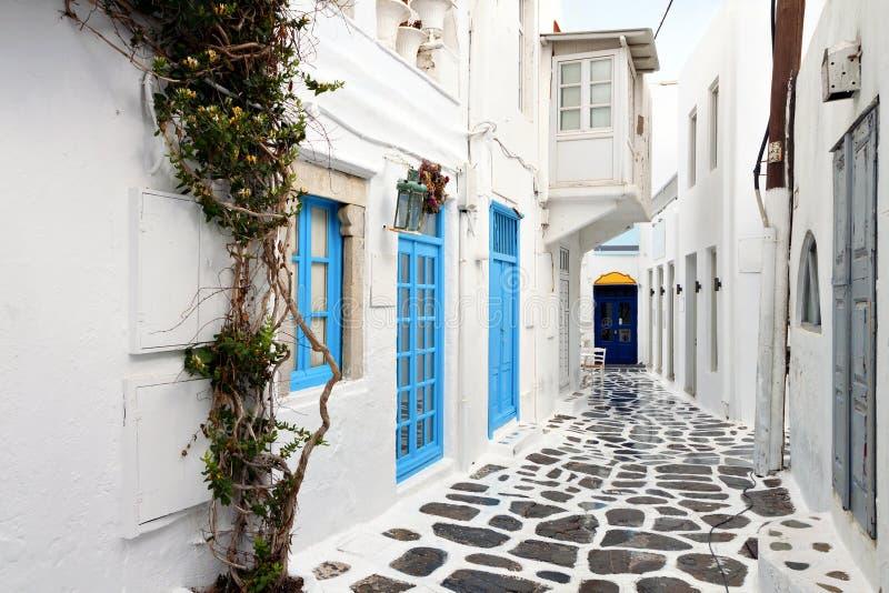 Straten van Mykonos-eiland, Griekenland royalty-vrije stock foto's