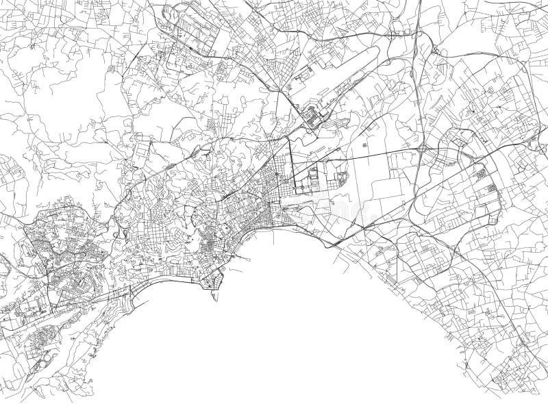 Straten van Napels, stadskaart, Campania, Italië vector illustratie