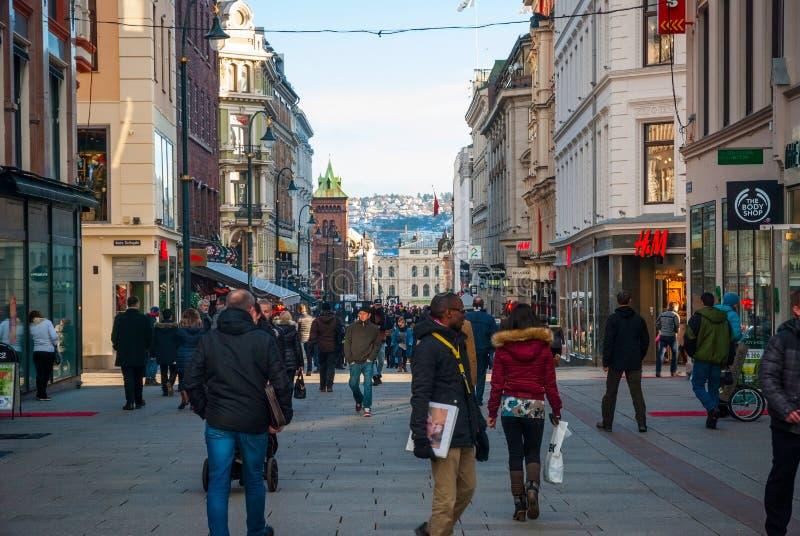Straten van Oslo, Noorwegen royalty-vrije stock foto