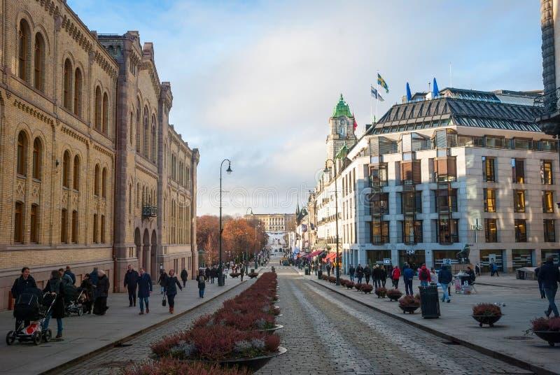 Straten van Oslo, Noorwegen stock foto's
