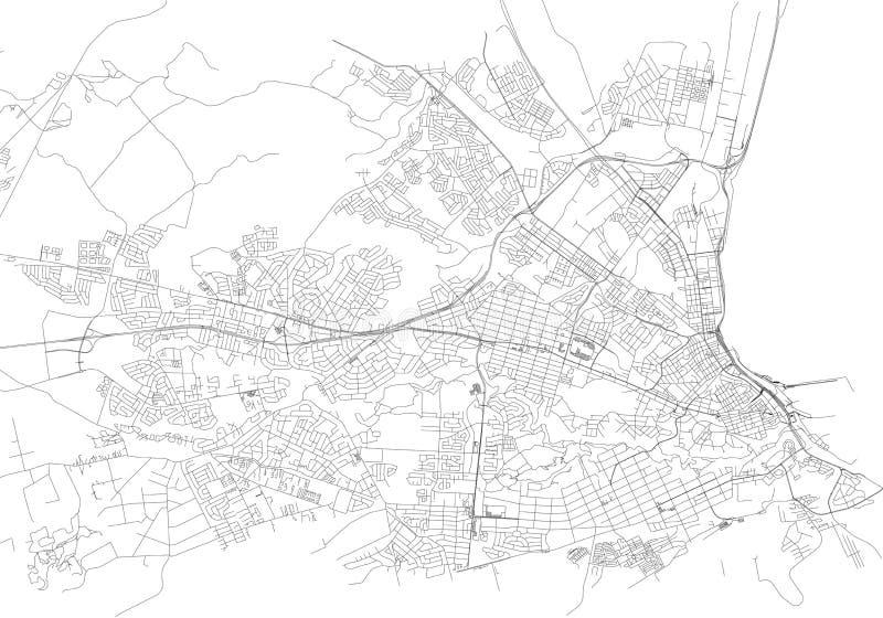 Straten van Port Elizabeth, stadskaart, Zuid-Afrika vector illustratie