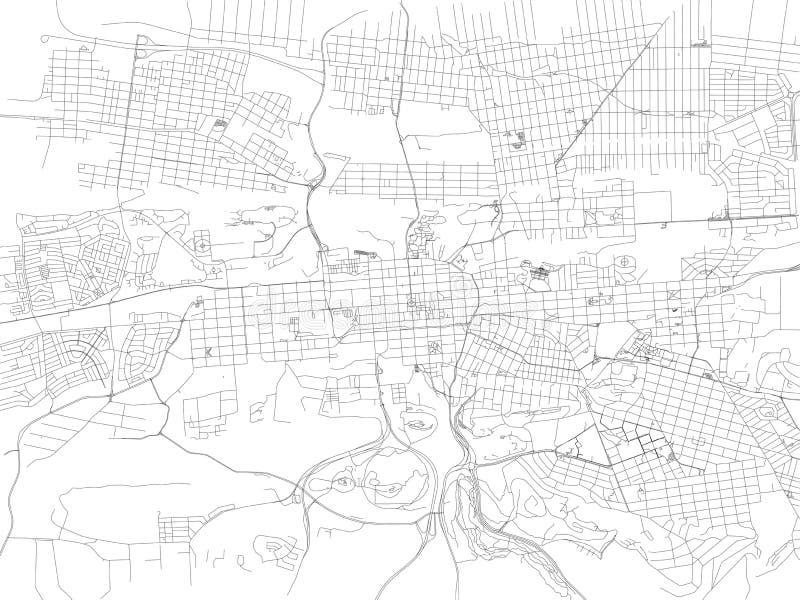Straten van Pretoria, stadskaart, Zuid-Afrika stock illustratie