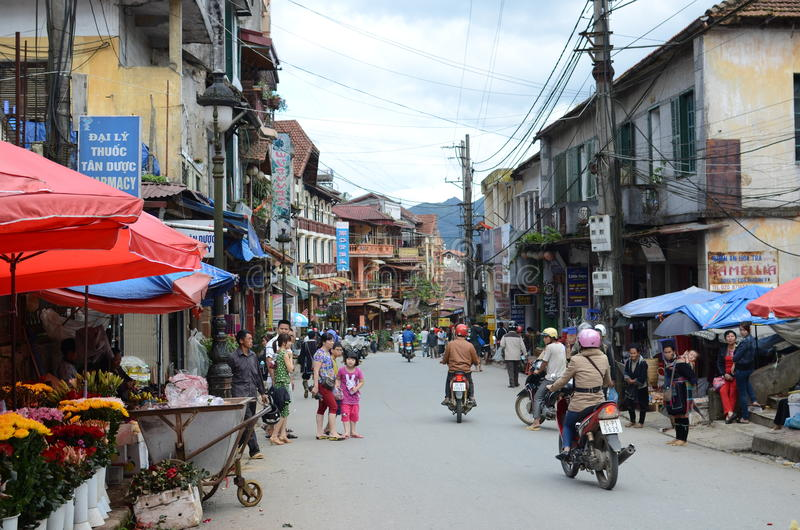 Straten van Sapa, Vietnam royalty-vrije stock fotografie