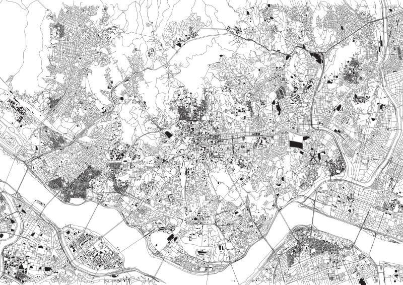 Straten van Seoel, kaart van de stad, Zuid-Korea royalty-vrije illustratie