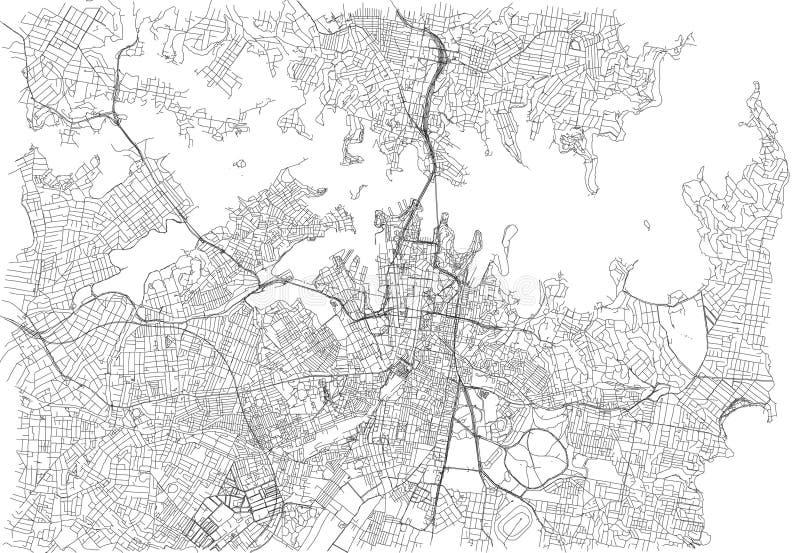 Straten van Sydney, stadskaart, Australië royalty-vrije illustratie