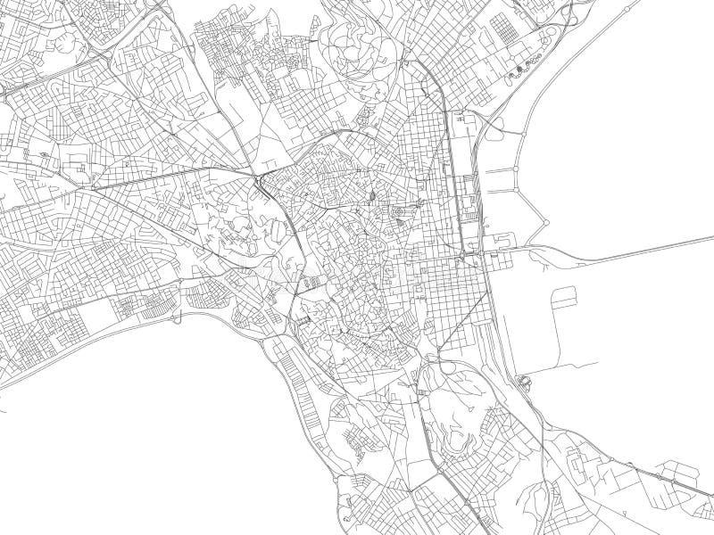 Straten van Tunis, kaart van de stad, Tunesië, Afrika stock illustratie