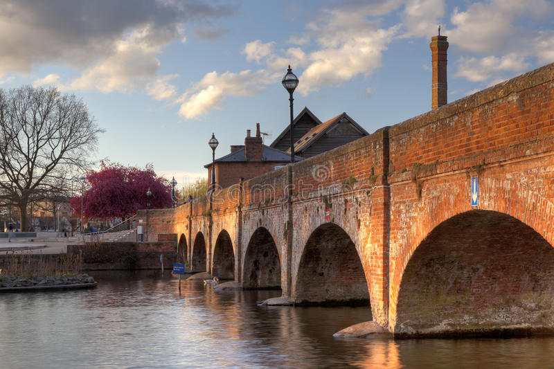 Stratford upon Avon. The old saw mill and bridge over the River Avon at Stratford upon Avon town centre, Warwickshire, England royalty free stock photos
