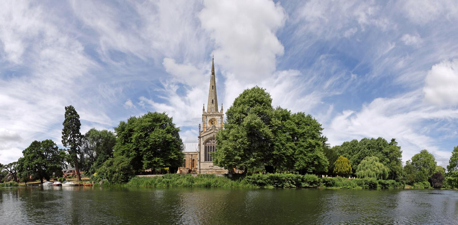 Stratford-upon-Avon panorama. Featuring Holy Trinity church and the river Avon stock images