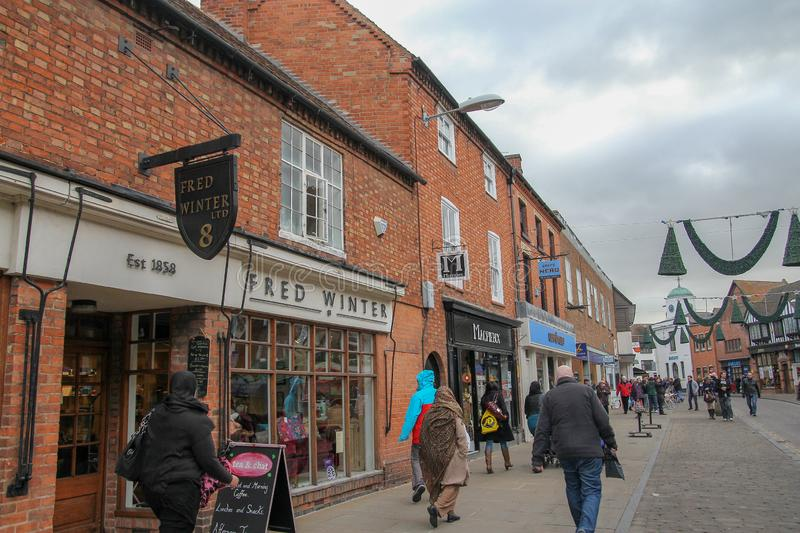 Stratford upon Avon, UK-December 5 ,2013 :Old village and buildings is most famous in the Stratford upon Avon because birthplace. Of William Shakespeare royalty free stock photos