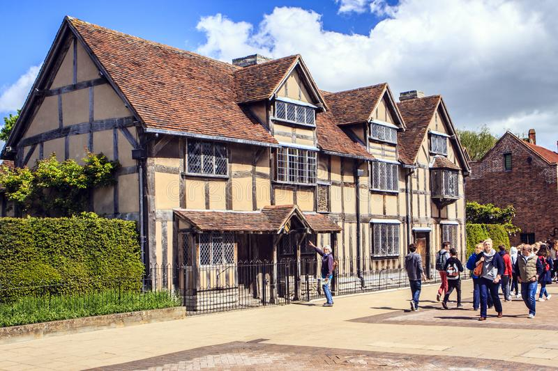 Stratford upon Avon, Warwickshire, England. William Shakespeare`s birthplace. Now it is a museum and a tourist attraction royalty free stock photo
