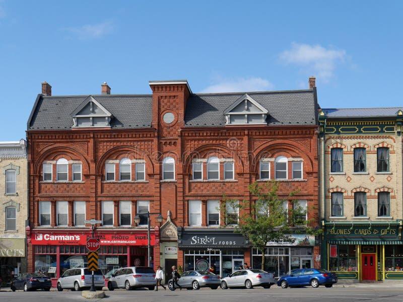 STRATFORD, CANADÁ, construções vitorianos fotografia de stock royalty free