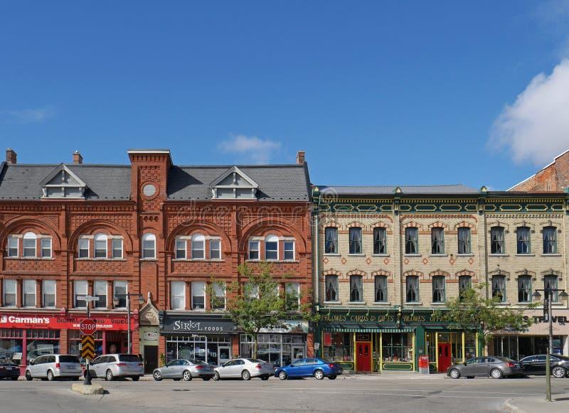 STRATFORD, CANADA, Victoriaanse gebouwen stock afbeeldingen