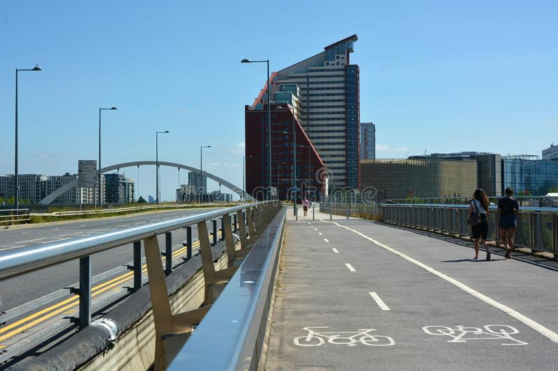 Stratford, London. Cycle pathway road and infrastructure royalty free stock images