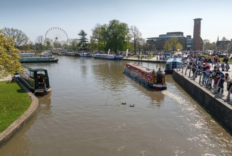Stratford na Avon widok kanał i park w Grodzkim Centre obraz stock