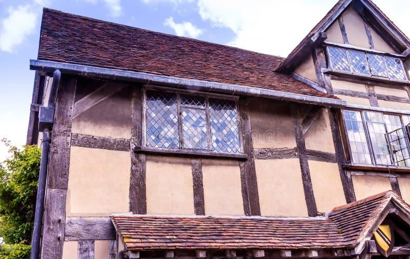 Stratford på Avon, UK Detalj av huset en födelseort var dramatikern och poeten William Shakespeare var födda fotografering för bildbyråer