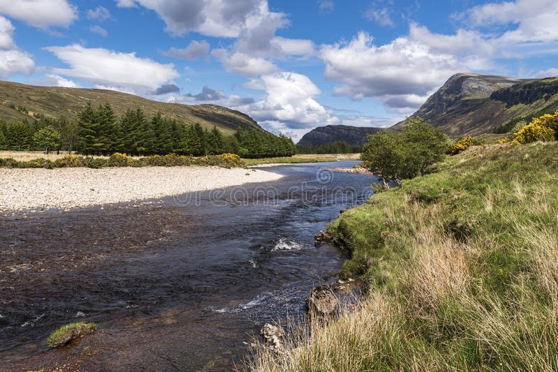 Strathmore River. The Strathmore River flowing north along Strath More under the slopes of Ben More into Loch Hope, Sutherland, Scotland stock photography