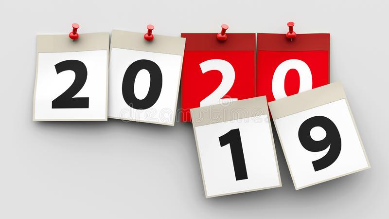 Strati 2020 del calendario illustrazione di stock