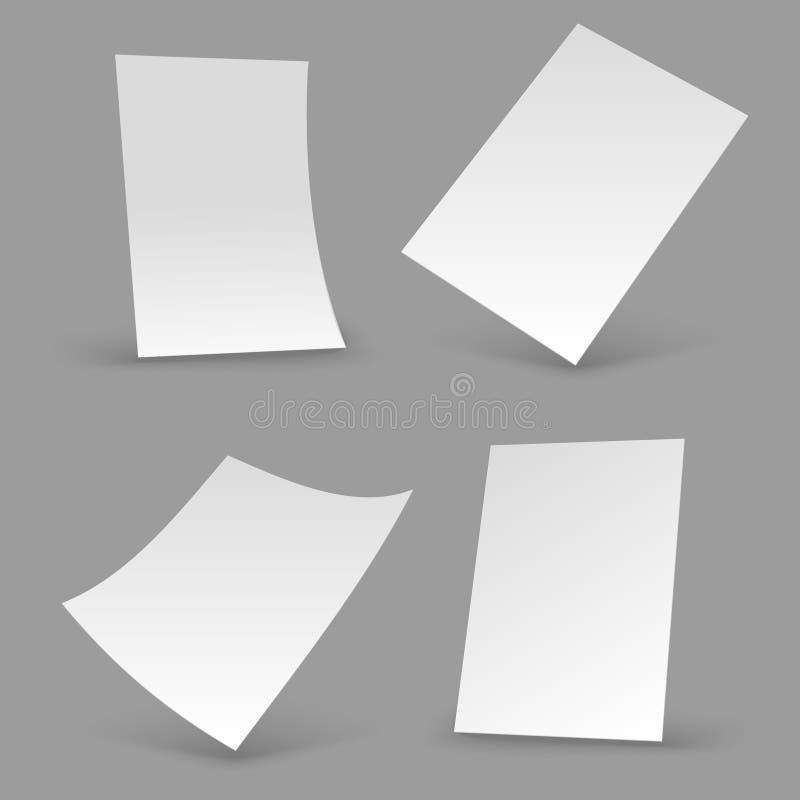 Strati del Libro Bianco A4 opuscolo in bianco, modelli realistici del manifesto modelli di vettore dell'aletta di filatoio 3d illustrazione vettoriale
