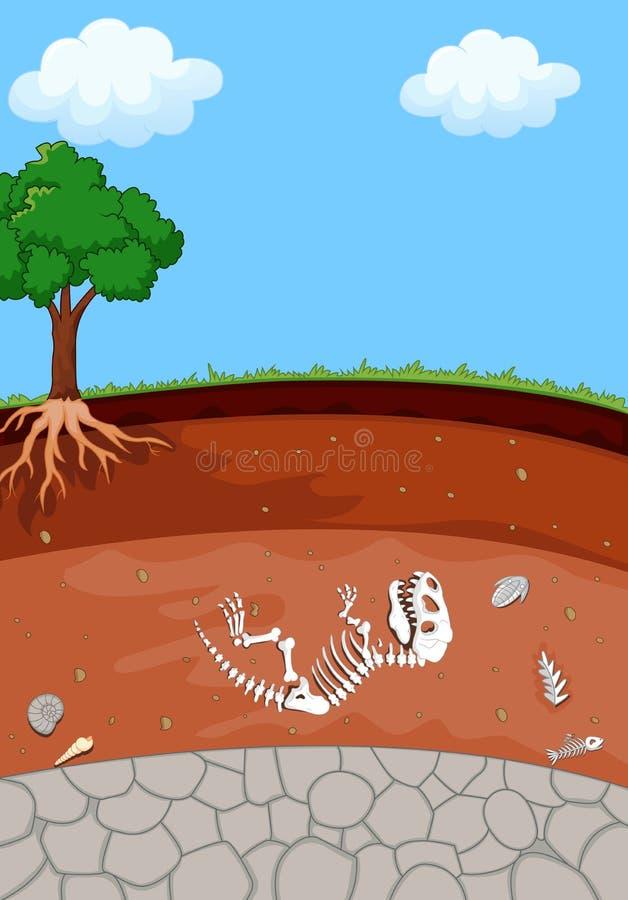 Strati del suolo con il fossile di dinosauro del fumetto illustrazione vettoriale