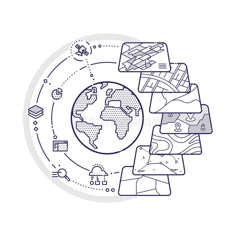 Strati di dati di concetto di GIS per Infographic royalty illustrazione gratis