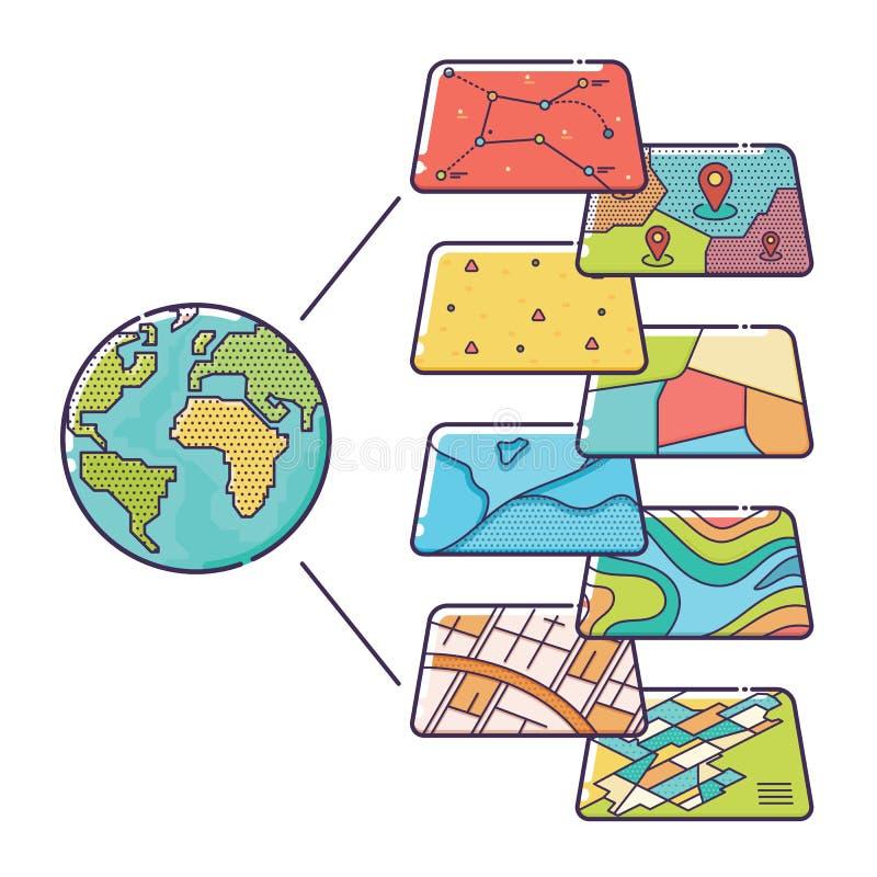 Strati di dati di concetto di GIS per Infographic illustrazione di stock
