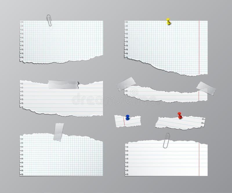 Strati lacerati della carta del quaderno con i perni Illustrazione di vettore royalty illustrazione gratis