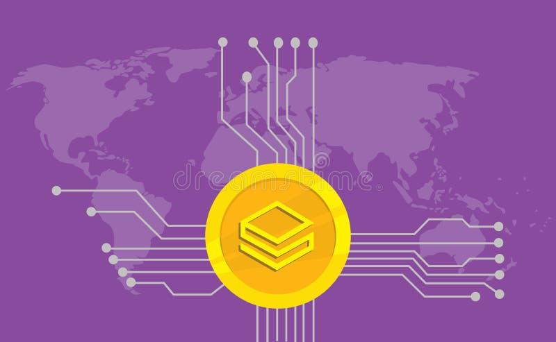 Stratis cryptocurrency品牌与金黄硬币的象选择和电子点有世界地图背景 库存例证
