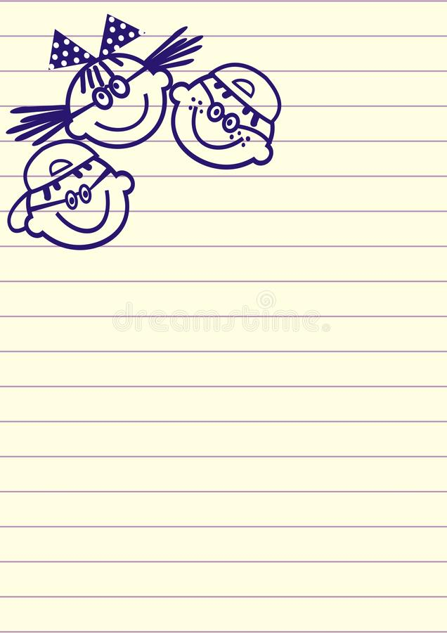 Strato allineato con tre bambini, disegno a penna, icona di vettore royalty illustrazione gratis
