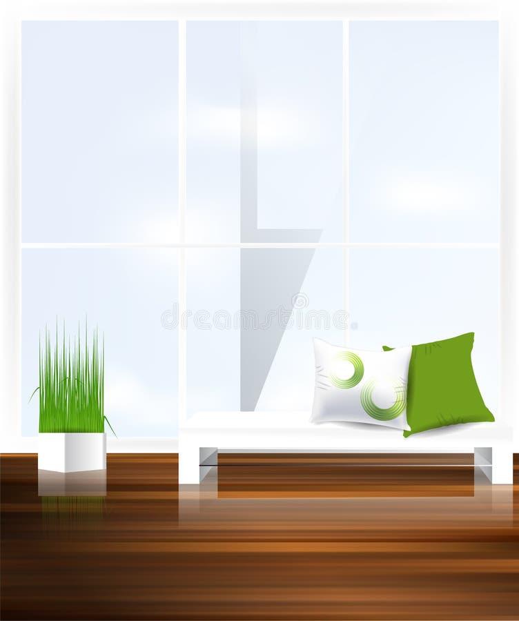 Strato bianco con i cuscini illustrazione di stock