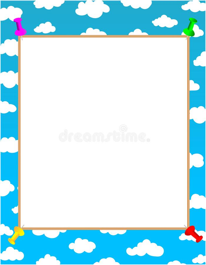 Strato bianco con i perni per testo sul fondo e sulle nuvole del cielo blu royalty illustrazione gratis