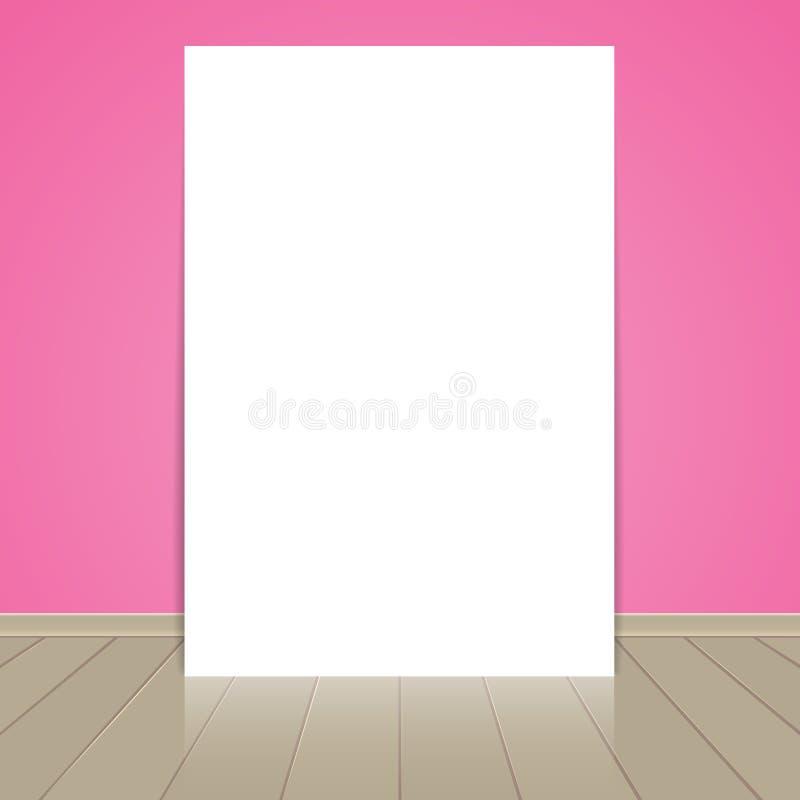 Strato in bianco della carta della struttura sul rosa illustrazione di stock