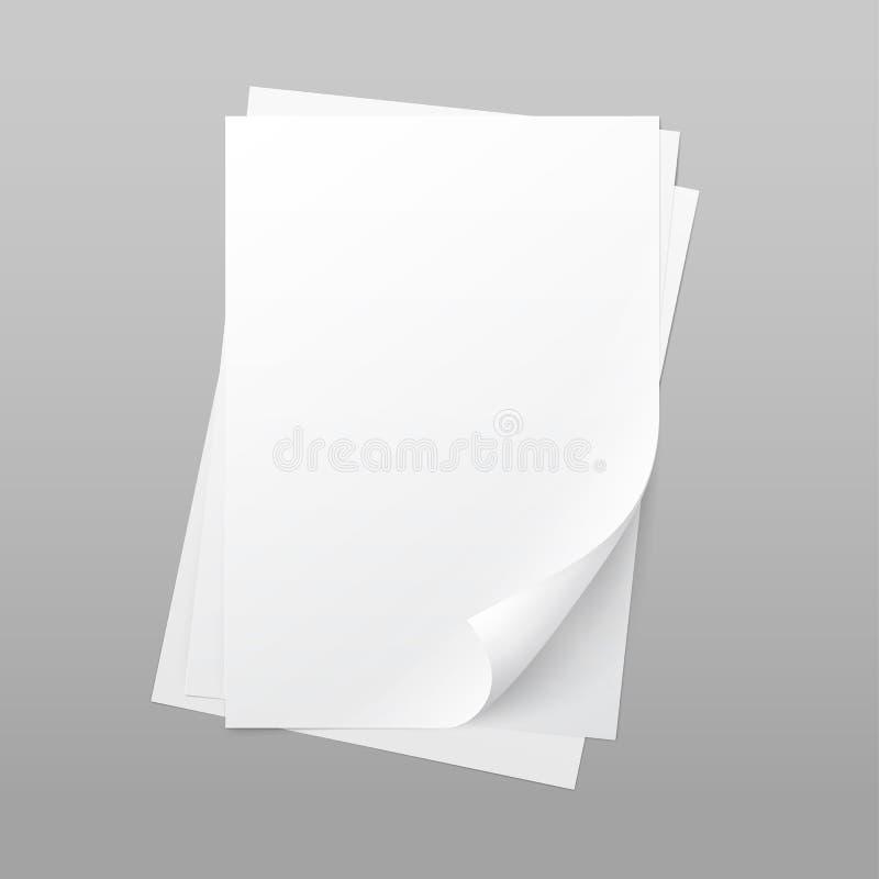 Strato bianco della pagina della carta in bianco con il ricciolo d'angolo illustrazione di stock