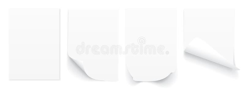 Strato in bianco A4 di Libro Bianco con l'angolo arricciato e di ombra, modello per la vostra progettazione insieme Illustrazione royalty illustrazione gratis