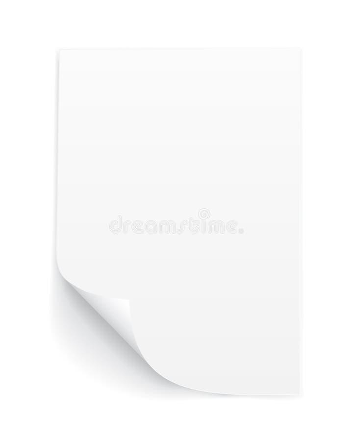 Strato in bianco A4 di Libro Bianco con l'angolo arricciato e di ombra, modello per la vostra progettazione insieme Illustrazione illustrazione di stock