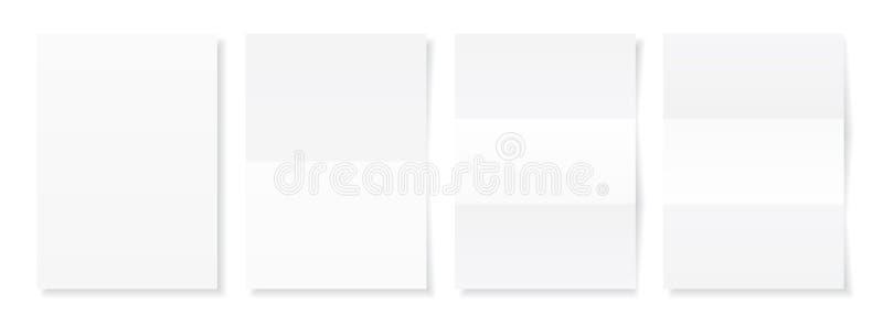 Strato in bianco A4 di Libro Bianco con ombra, modello per la vostra progettazione insieme Illustrazione di vettore illustrazione di stock