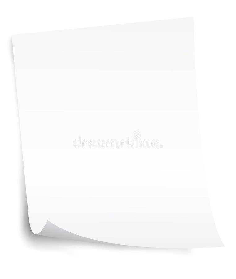 Strato del documento in bianco con l'angolo dell'arricciatura illustrazione di stock