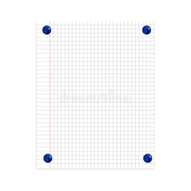 Strato della carta per appunti di vettore appuntato da Pin Buttons Isolated blu realistico Priorit? bassa del documento di grafic illustrazione di stock