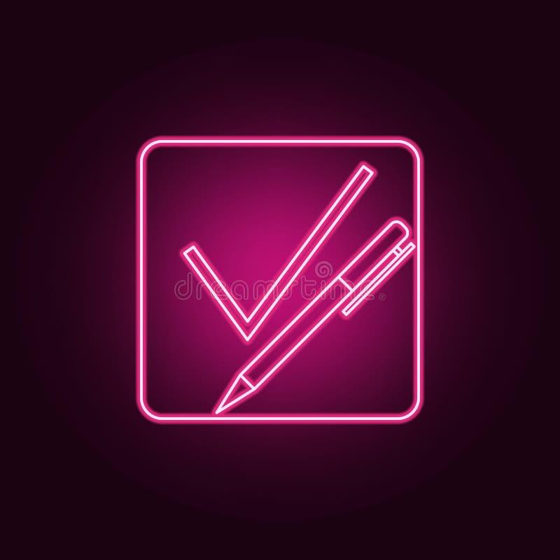 Strato della penna con un'icona al neon del segno di spunta Elementi dell'insieme di elezione E royalty illustrazione gratis