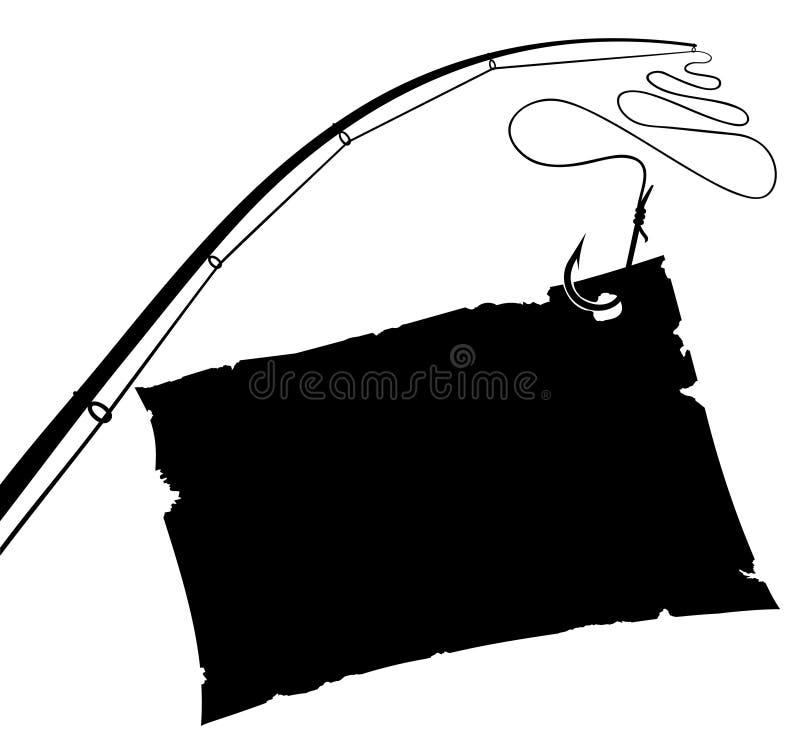 Strato di carta dell'annata sull'amo di pesca. illustrazione di stock