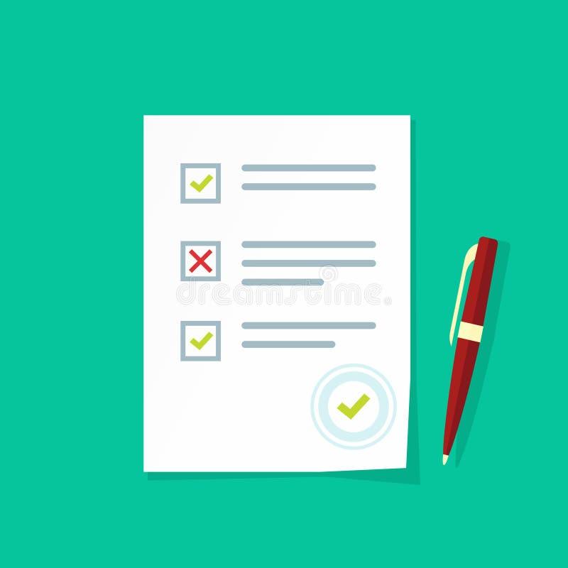 Strato di carta di risultati dei test dell'esame, lista di controllo della forma di indagine, documento di quiz royalty illustrazione gratis