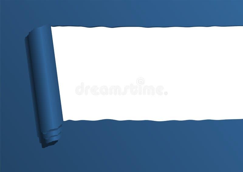 Strato di carta strappato blu illustrazione di stock