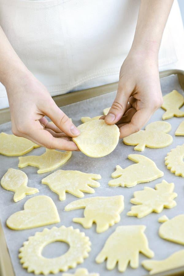 Strato di cottura con i biscotti immagine stock