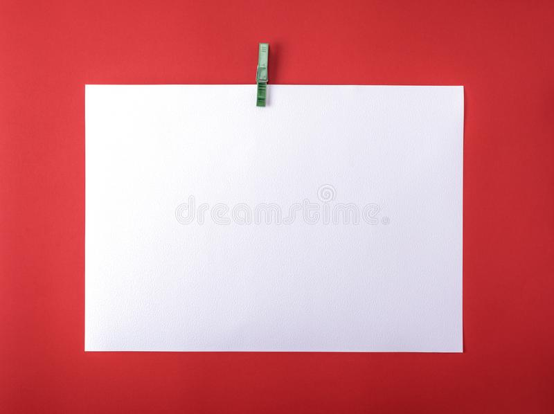 Strato di disegno in bianco bianco sulla molletta da bucato di plastica verde immagini stock libere da diritti