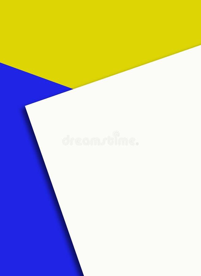 Strato di Libro Bianco su fondo blu e giallo - lettera del modello del modello illustrazione di stock