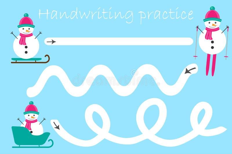 Strato di pratica della scrittura, tema di natale, pupazzi di neve, attività prescolare dei bambini, gioco educativo dei bambini, illustrazione vettoriale