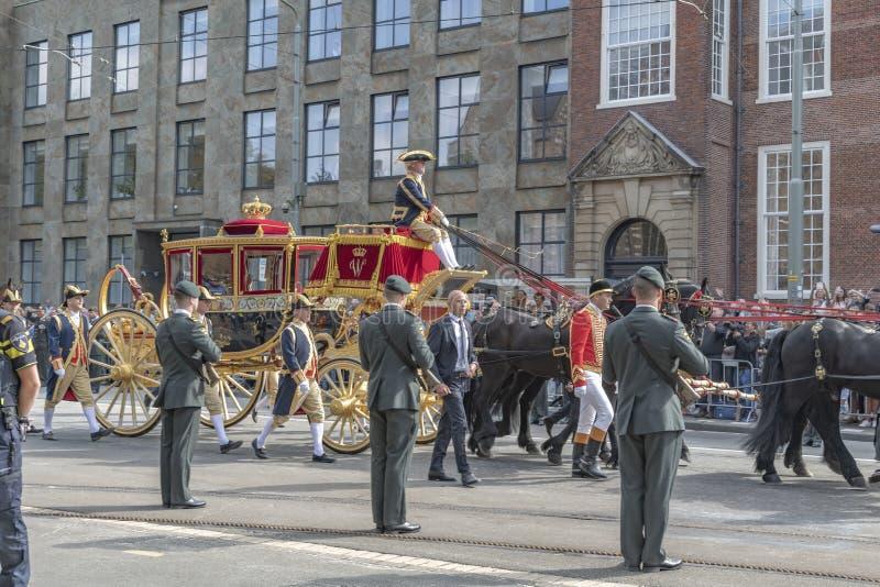Strato dorato di Alexander il re dei Paesi Bassi immagini stock libere da diritti